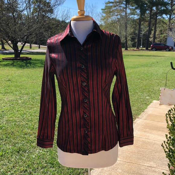 Compliments Tops - Women's Black and Red Striped Blouse